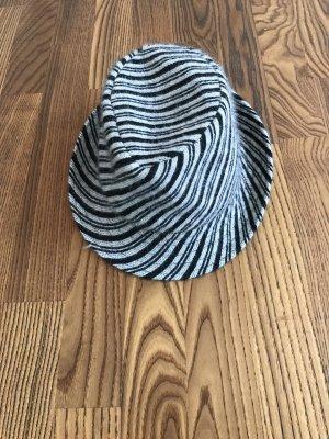 Woolen Hat silver-colored-black angora wool