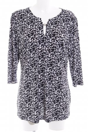 Couture Line Top long blanc-noir motif abstrait style décontracté