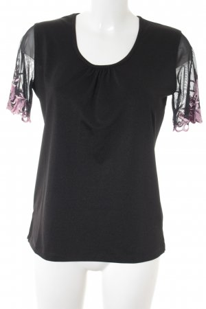 Couture Line T-Shirt schwarz-rosa florales Muster Casual-Look