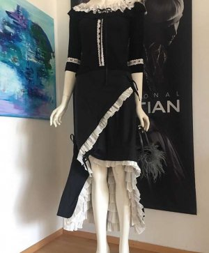 couture Cocktail Dress black-white