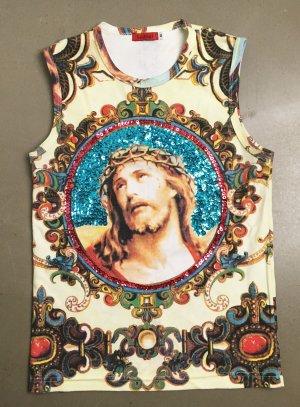 * COWBOY & ANGELS * ärmelloses SHIRT DRUCK bunt Christus Motiv Pailetten Gr M (  ca 38  )