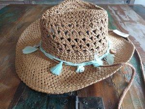 Cowboy Hut Strohhut Muschel Federn Neu mit Etikett