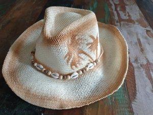 Cowboy Hut Strohhut Muschel Palmen Neu mit Etikett
