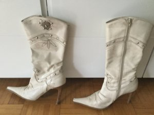 Western Boots natural white imitation leather