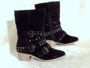 Cowboy Stiefelette Nieten Boots Riemen Größe 36 Schwarz