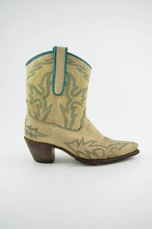 Western Boots cream-turquoise leather