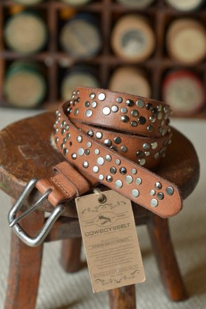 COWBOYSBELT Gürtel 85 NEU Braun Nieten weiches Leder 30mm usedlook Vintage