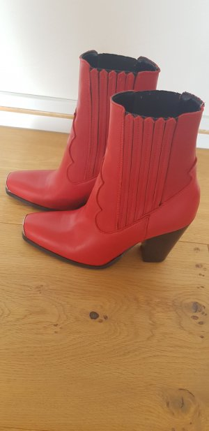 Mango Western Booties silver-colored-brick red