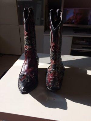 Western Laarzen zwart-rood Leer