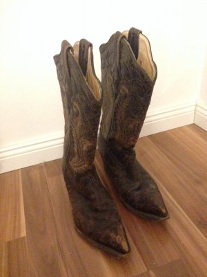Cowboystiefel Buffalo Wiesn Wasen Echtleder innen Tracht Blockabsatz Western Reiten Spitz