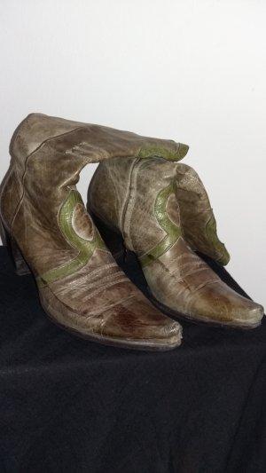 Vic Matie Boots western marron clair-gris vert