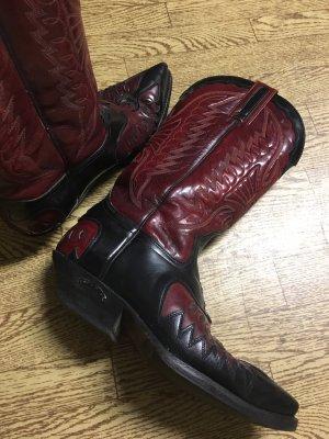 Western Laarzen zwart-karmijn Leer
