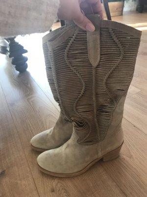 Laarzen met hak lichtgrijs-room