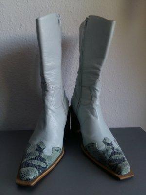 Botas estilo vaquero azul claro-azul bebé Cuero