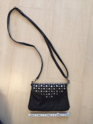 Cox Crossbody bag black-silver-colored