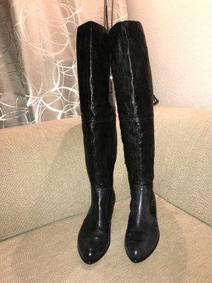 Cox Overknee Lederstiefel Leder Stiefel 41 schwarz