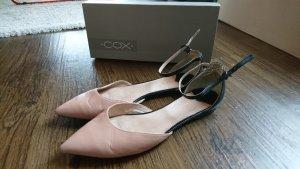 Cox spitze flache Leder Schuhe Ballerinas 40 rosa schwarz
