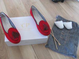 CP Charles Philip Shanghai Red Velvet Mono Tassel Slipper Loafers Flats Samt 40