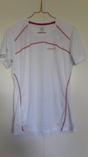 Craft Sport Funktions-T-Shirt weiß pink mit Reflektor Gr. M
