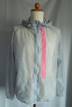 Crane,leichte ungefütterte Lauf-Trainingsjacke,transparent,grau-neonpink,Gr.44/46