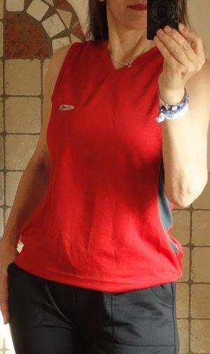 Crane Sportshirt, Top, rot/grau, Funktionsmaterial CoolMax, Fitness, Freizeit, Sport, Jogging, Radfahren etc., angenehm leicht, ärmellos, kleiner V-Ausschnitt, neuwertig, Gr. 40/42, Gr. M