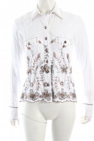 Blouse en crash blanc-marron clair motif floral imprimé aztèque