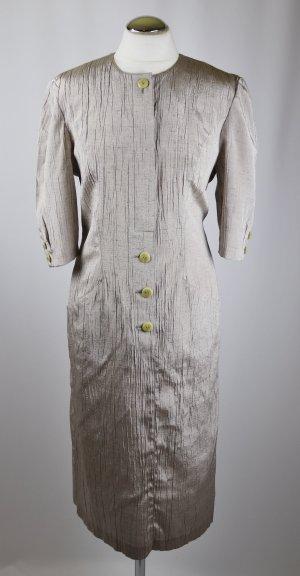 Crash Shiftkleid Business Kleid SM Sonja Coordinates Größe M 38 Grau Silberfarben Beige Nude Glanz Knopfleiste Hemdblusenkleid Midi Vintage