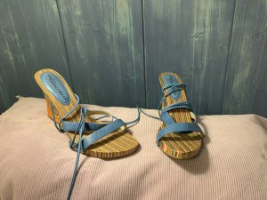 Wedge Sandals cornflower blue-orange