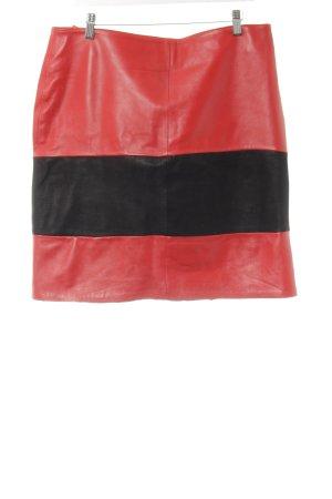 Crazy Outfits Gonna in pelle nero-rosso motivo a righe stile semplice