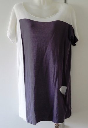 Crea Concept Long Shirt natural white-grey violet cotton
