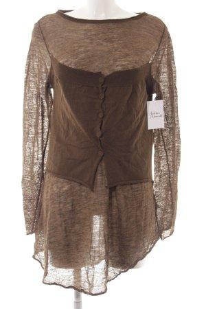 Crea Concept Maglione di lana marrone-grigio stile casual