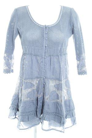 Cream A-Linien Kleid graublau Blumenmuster 40ies-Stil