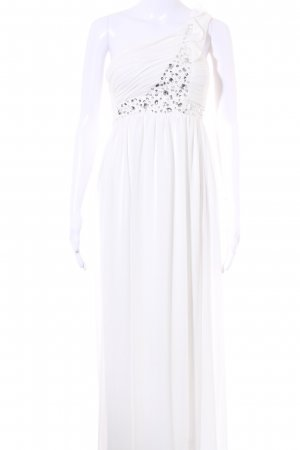 Cream Ball Dress white-silver-colored embellished pattern elegant