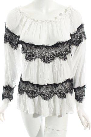 Cream Bluse weiß-schwarz Romantik-Look