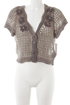 Cream Boléro gris brun motif tricoté lâche style romantique
