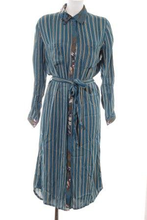 Cream Abito blusa camicia blu-marrone motivo floreale elegante