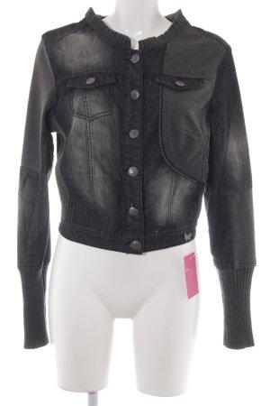 Cream Veste en jean gris foncé-gris gradient de couleur style décontracté