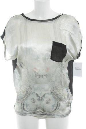Cream Kurzarm-Bluse schwarz-weiß abstraktes Muster Casual-Look