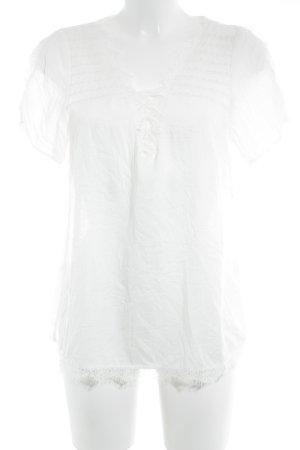 Cream Kurzarm-Bluse weiß Romantik-Look