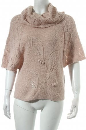Cream Short Sleeve Knitted Jacket dusky pink loosely knitted pattern casual look