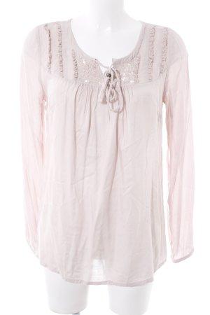 Cream Langarm-Bluse altrosa Romantik-Look