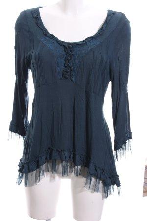 Cream Langarm-Bluse blau Casual-Look