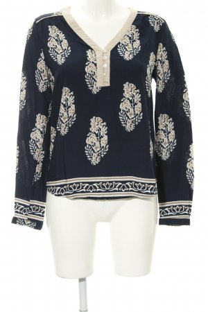Cream Langarm-Bluse florales Muster Casual-Look
