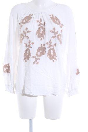 Cream Langarm-Bluse florales Muster Romantik-Look