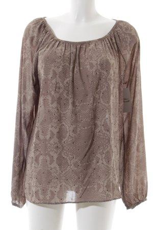 Cream Langarm-Bluse hellbraun-graubraun abstraktes Muster Elegant
