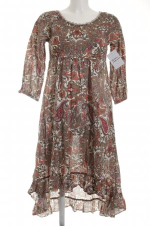 Cream Langarmkleid abstraktes Muster Hippie-Look