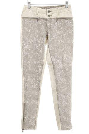 Cream Pantalone in pelle crema-beige stampa rettile