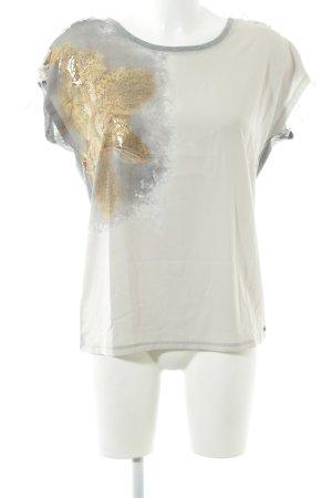 Cream Oversized Shirt white-light grey flecked casual look