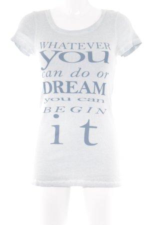 Cream Geribd shirt lichtblauw-petrol geplaatste afdruk casual uitstraling