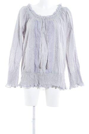 Cream Ruffled Blouse light grey-purple romantic style